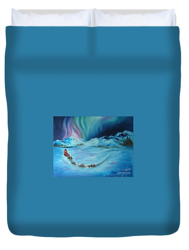 Iditarod Duvet Cover featuring the painting The Iditarod Trail by Lora Duguay