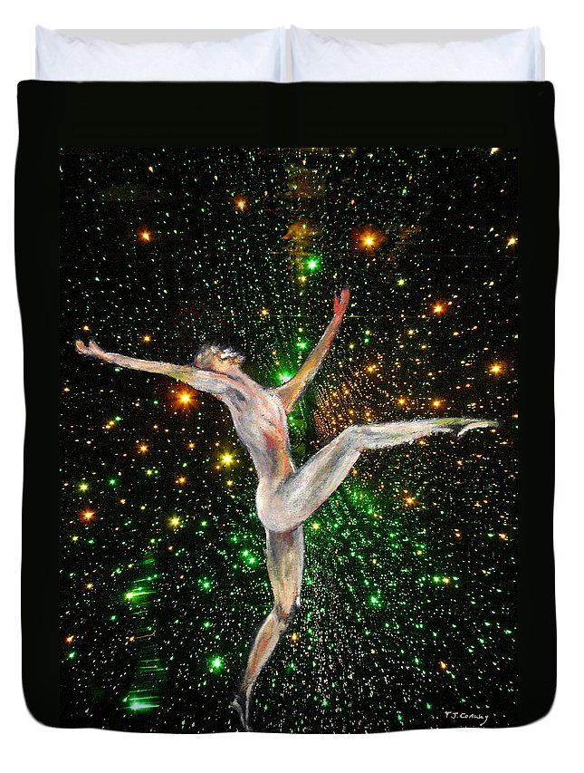 Dance Duvet Cover featuring the painting The Light Fantastic Dance and Stars by Tom Conway