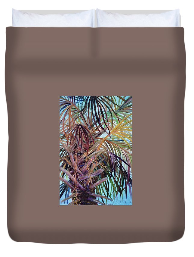 Palm Tree Duvet Cover featuring the painting The Palm by Ben Kiger