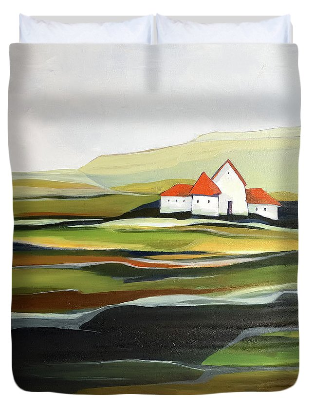 Oil Painting Duvet Cover featuring the painting The quiet land by Aniko Hencz