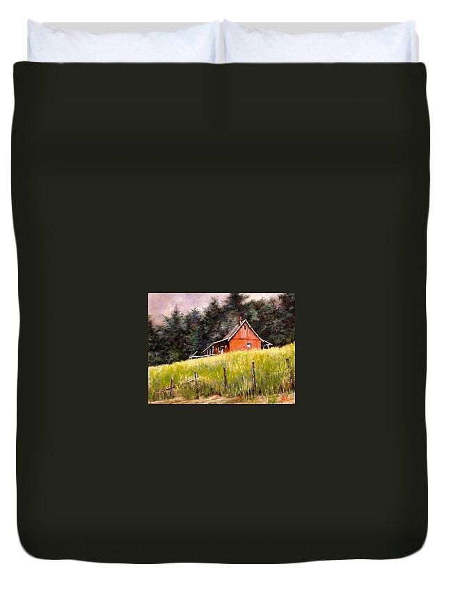 Landscape Duvet Cover featuring the painting The Red Coach Stop by Jim Gola