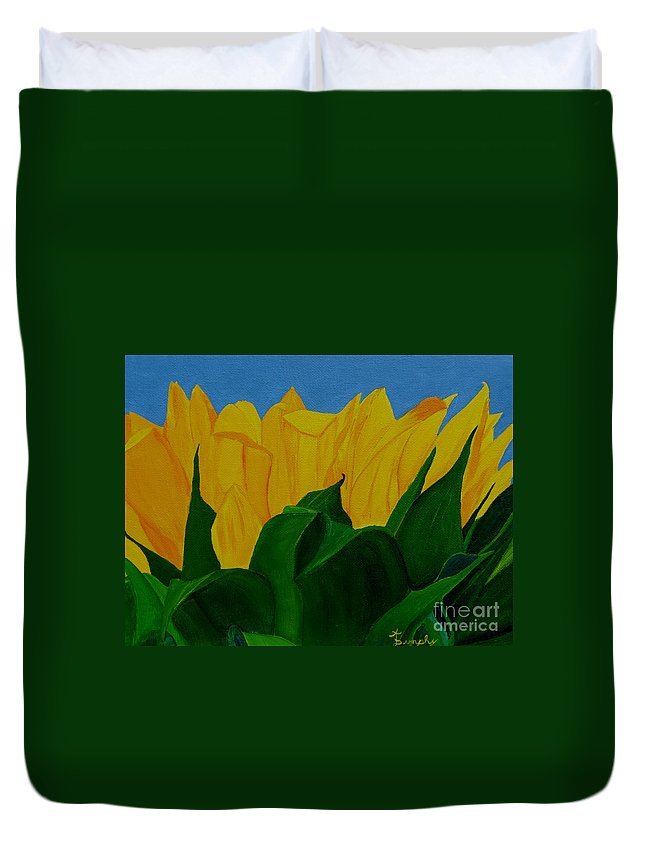 Sunflower Duvet Cover featuring the painting The Rising Sun by Anthony Dunphy