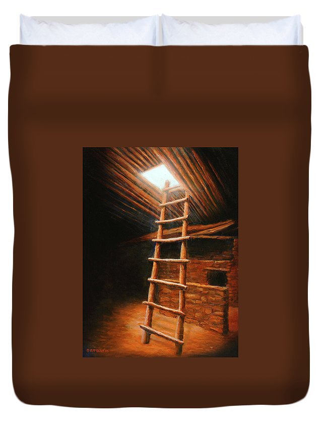 Kiva Duvet Cover featuring the painting The Second World by Jerry McElroy