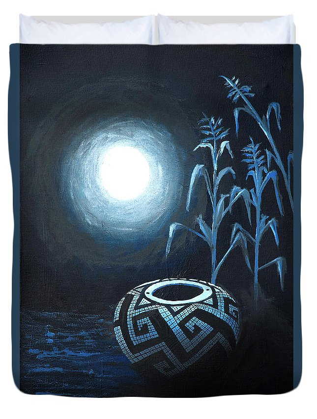 Anasazi Duvet Cover featuring the painting The Seed Pot by Jerry McElroy