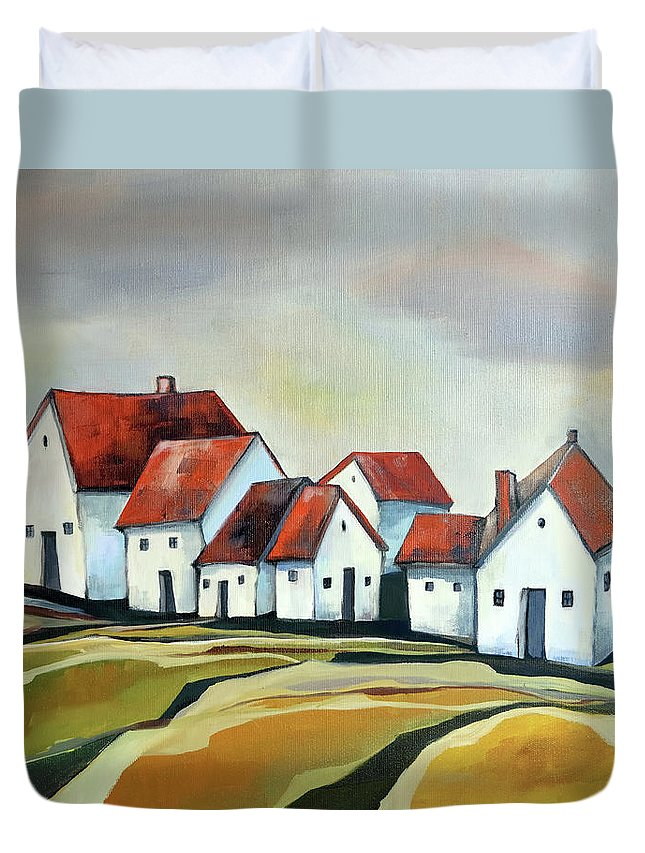 Village Duvet Cover featuring the painting The smallest village by Aniko Hencz