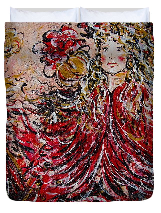 Dancers Duvet Cover featuring the painting The Spring Festival. by Natalie Holland