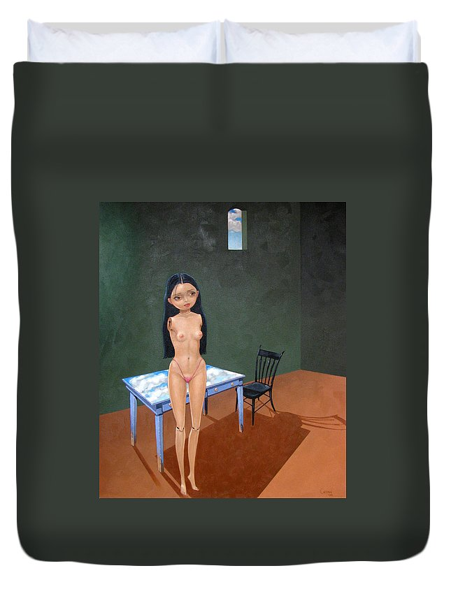 Surrealism Duvet Cover featuring the painting The Storeroom by Jerrold Carton