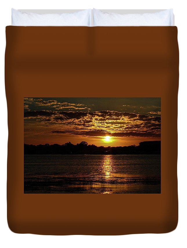 Sunset Duvet Cover featuring the photograph The Sunset over the Lake by Daniel Cornell
