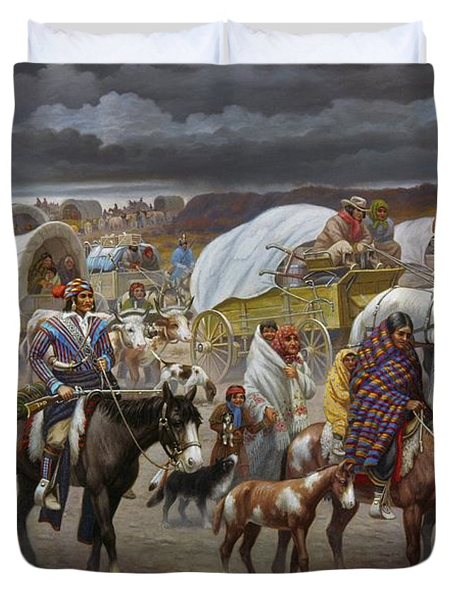 1838 Duvet Cover featuring the painting The Trail Of Tears by Granger