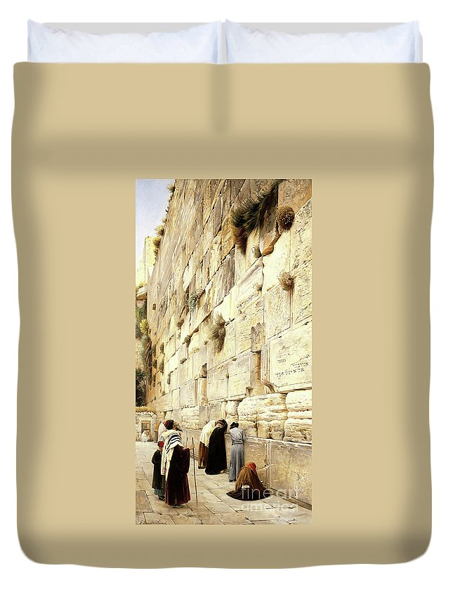 Wailing Wall Duvet Cover featuring the painting The Wailing Wall, Jerusalem, 1904 by Gustave Bauernfeind