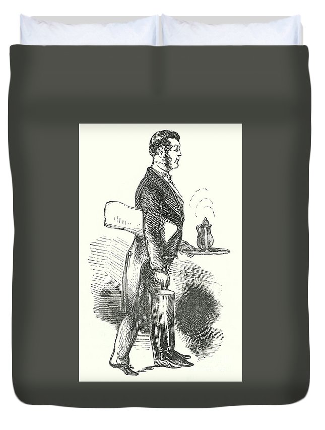 Waiter Duvet Cover featuring the drawing The Waiter, Engraving by English School