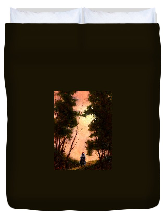 Landscape. Oil Painting Duvet Cover featuring the painting The Walk Home by Jim Gola
