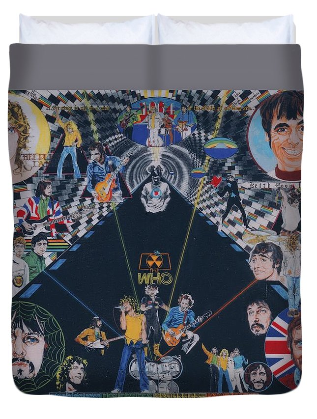Montage Duvet Cover featuring the drawing The Who - Quadrophenia by Sean Connolly