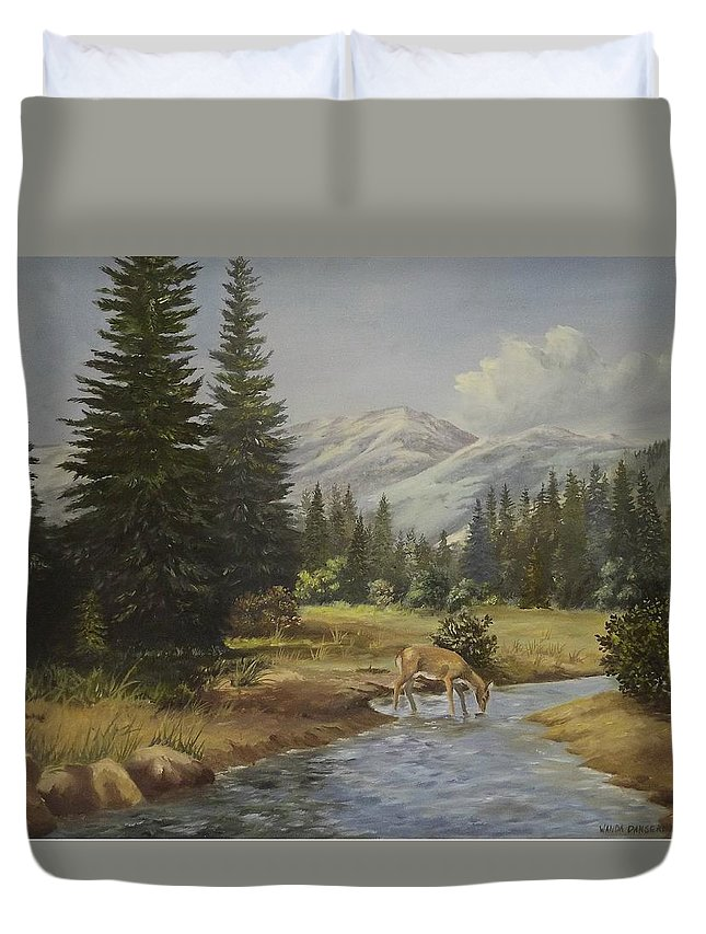 Mountains Duvet Cover featuring the painting The Wildlife Trail by Wanda Dansereau