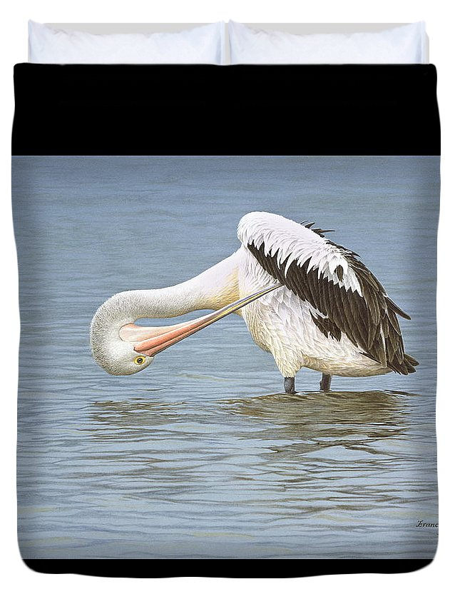 Bird Duvet Cover featuring the painting Those Hard to Reach Places - Australian Pelican by Frances McMahon