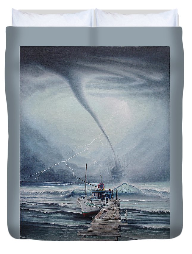Seascape Duvet Cover featuring the painting Tifon   water sprout by Angel Ortiz