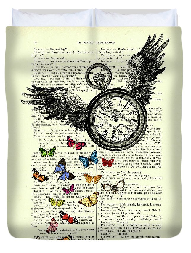 Time Flies Duvet Cover featuring the digital art Time flies by Madame Memento
