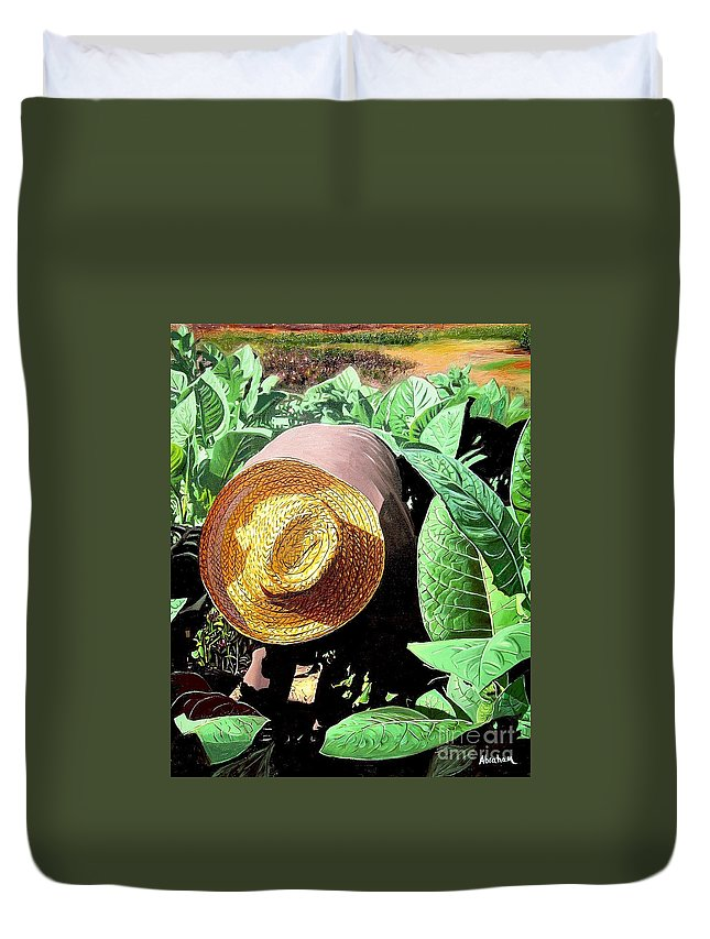 Tobacco Duvet Cover featuring the painting Tobacco Picker by Jose Manuel Abraham