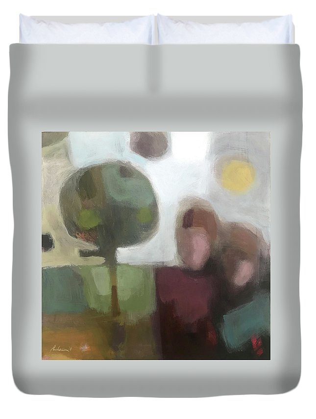 Landscape Duvet Cover featuring the painting Together by Farhan Abouassali