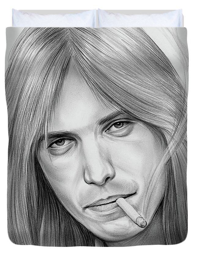 Tom Petty Duvet Cover featuring the drawing Tom Petty - Pencil by Greg Joens