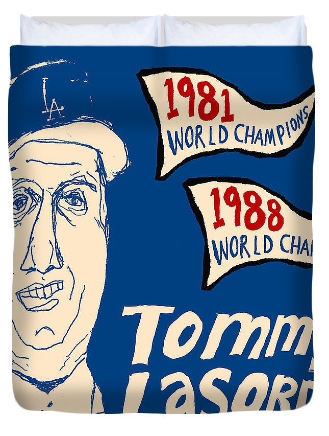 Los Angeles Dodgers Duvet Cover featuring the painting Tommy Lasorda Los Angeles Dodgers by JB Perkins