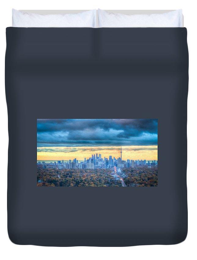 Skyline Duvet Cover featuring the photograph Toronto Blue Sky by Eden Watt