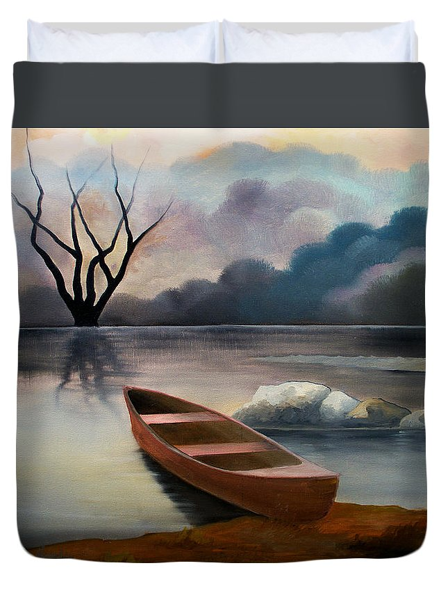 Duck Duvet Cover featuring the painting Tranquility by Sergey Bezhinets