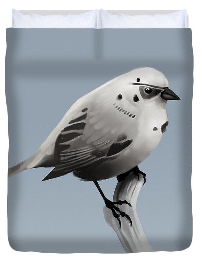 Birds Duvet Cover featuring the digital art Trooper Bird Flipped by Michael Myers