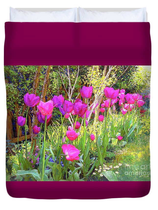 Floral Duvet Cover featuring the painting Tulip Beauty by Jane Small