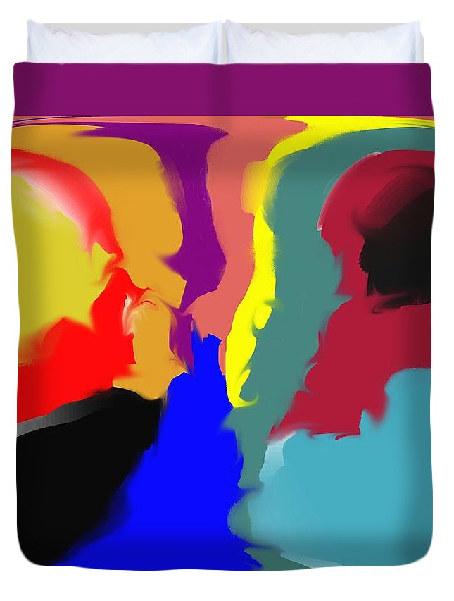 Abstract Duvet Cover featuring the digital art Two Peas in a Pod by Pharris Art