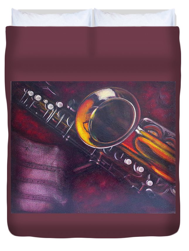 Oil Painting On Canvas Duvet Cover featuring the painting Unprotected Sax by Sean Connolly