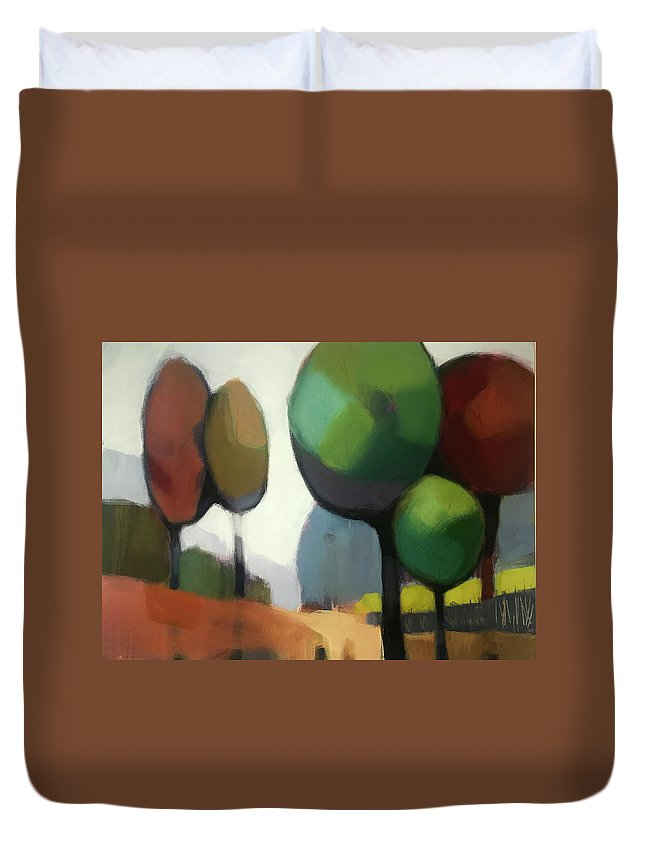 Tree Duvet Cover featuring the painting Untitled II by Farhan Abouassali
