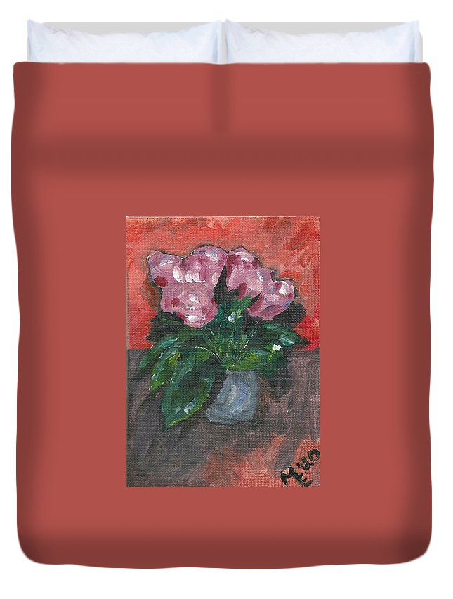Rose Duvet Cover featuring the painting Vase of Roses by Monica Resinger