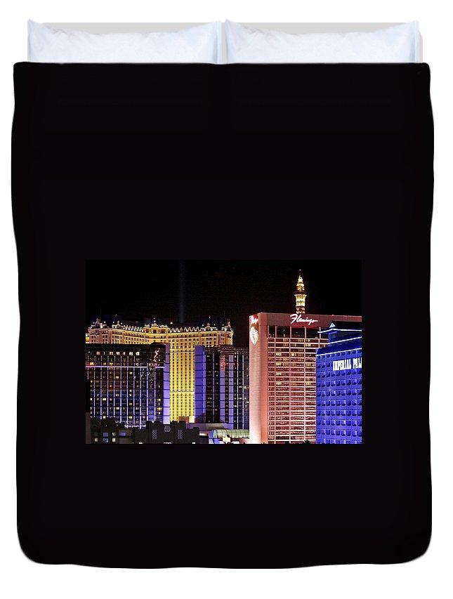 Night Duvet Cover featuring the photograph Viva Las Vegas by Alexandra Till