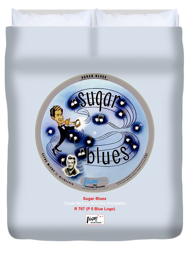 Vogue Picture Record Duvet Cover featuring the digital art Vogue Record Art - R 707 - P 5, Blue Logo by John Robert Beck