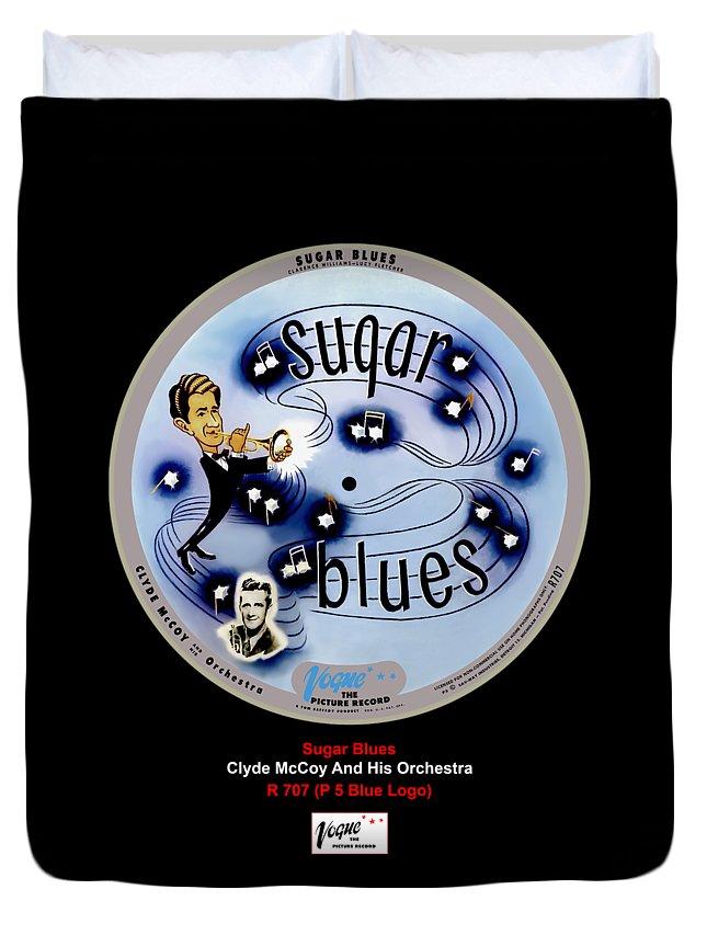 Vogue Picture Record Duvet Cover featuring the digital art Vogue Record Art - R 707 - P 7, Blue Logo by John Robert Beck
