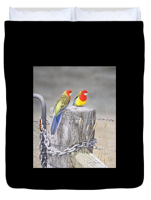 Bird Duvet Cover featuring the painting Waiting for the Rains - Eastern Rosellas by Frances McMahon