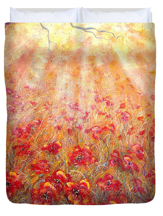 Landscape Duvet Cover featuring the painting Warm Sun Rays by Natalie Holland