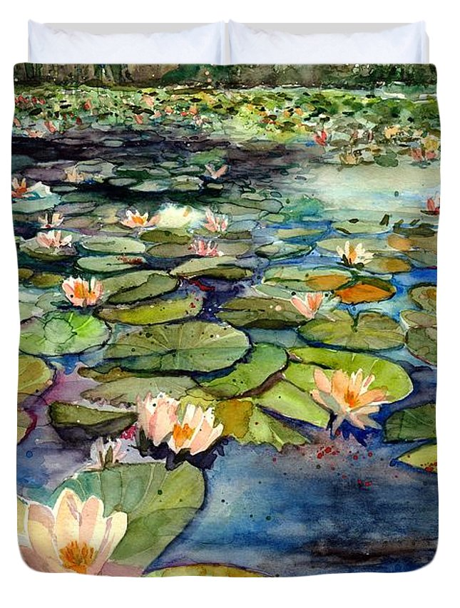 Water Lily Duvet Cover featuring the painting Water Lilies In The Afternoon by Suzann Sines