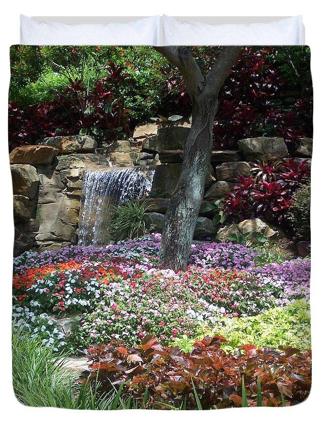 Garden Duvet Cover featuring the photograph Waterfall Garden by Pharris Art