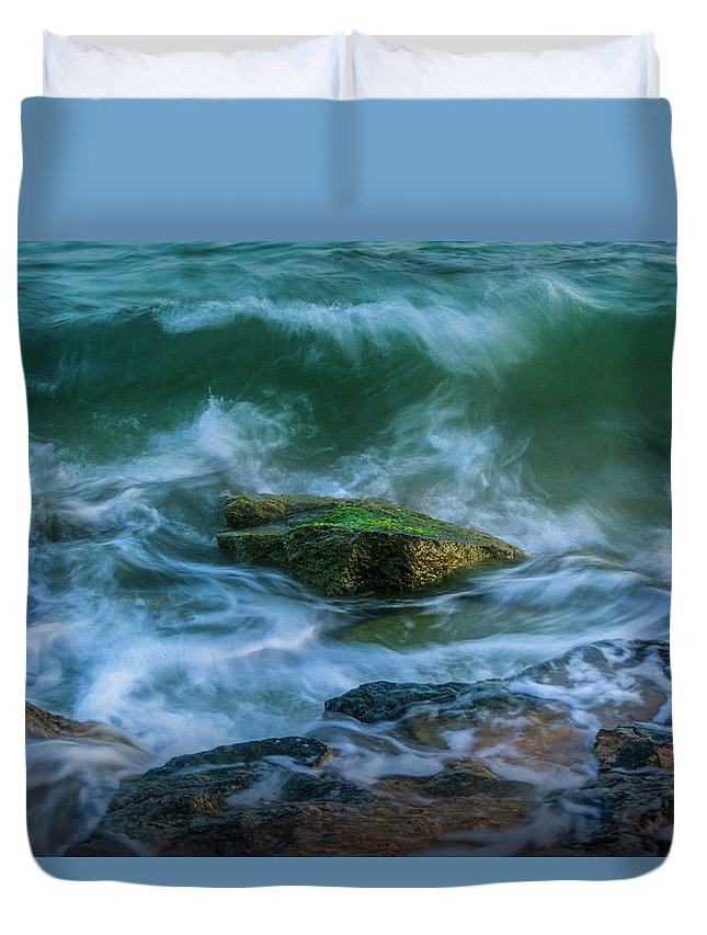 Aqua Duvet Cover featuring the photograph Wave On Rocks by Vicente Sargues