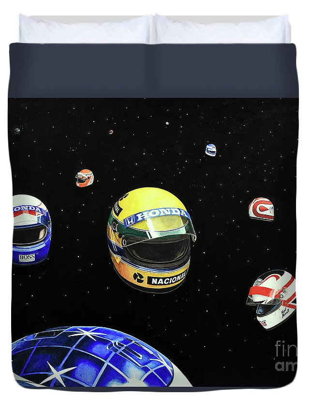 Ayrton Senna Duvet Cover featuring the painting We Are Flying High  by Oleg Konin