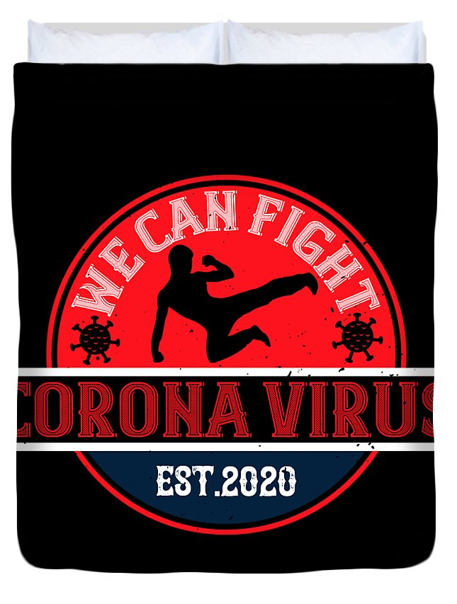 Sarcastic Duvet Cover featuring the digital art We Can Fight Corona Virus Est2020 by Jacob Zelazny