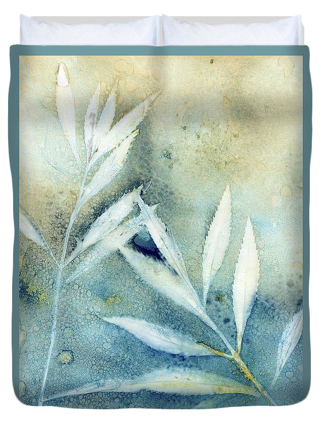 Wet Cyanotype Duvet Cover featuring the photograph Wet Cyanotype leaf botanical ombre by Jane Linders