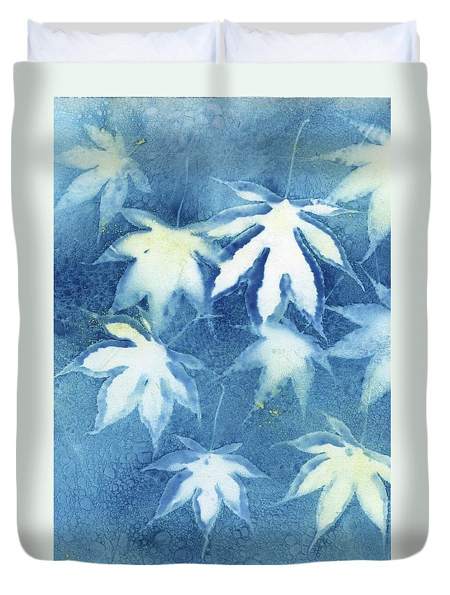 Cyanotype Duvet Cover featuring the photograph Wet Cyanotype Maple Leaf Botanical Blue by Jane Linders