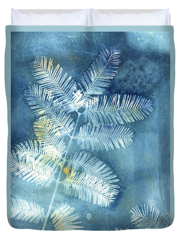 Cyanotype Duvet Cover featuring the photograph Wet Cyanotype Pine Botanical Blue by Jane Linders