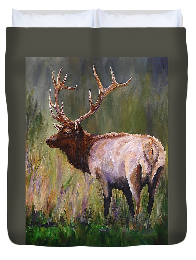 Elk Wildlife Art Duvet Cover featuring the painting Whapiti - ELK Now Avaliable by Mary Jo Zorad