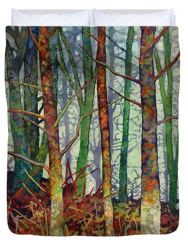Abstract Forest Duvet Cover featuring the painting Whispering Forest by Hailey E Herrera