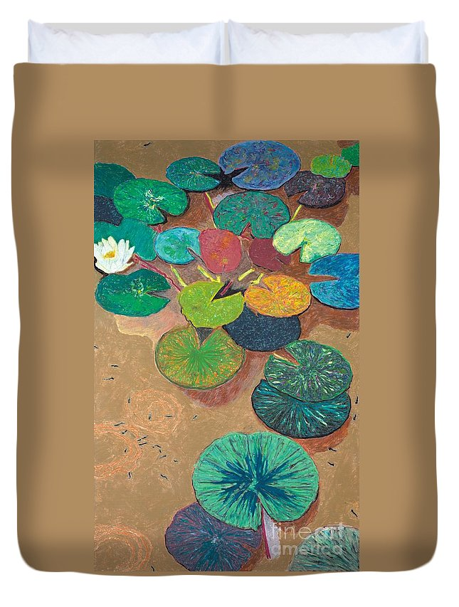 Landscape Duvet Cover featuring the painting White Lily by Allan P Friedlander
