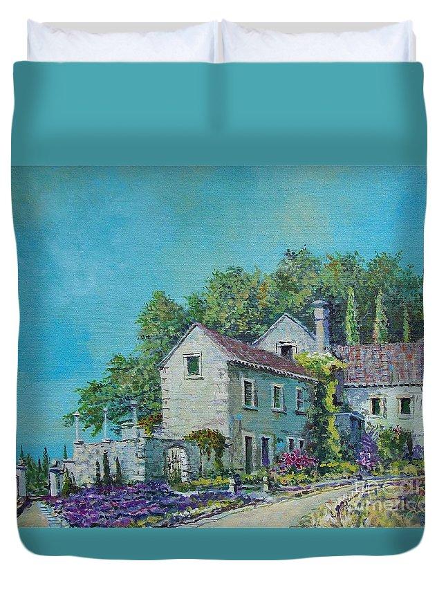 Original Painting Duvet Cover featuring the painting Village Vista by Sinisa Saratlic